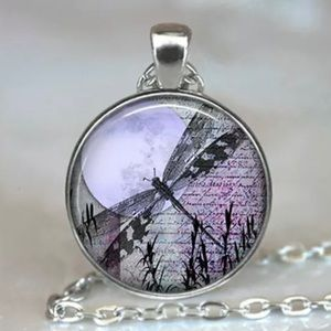 New! Purple Dragonfly Moon Necklace